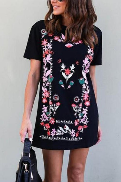 Floral Sweatshirt Mini Dress