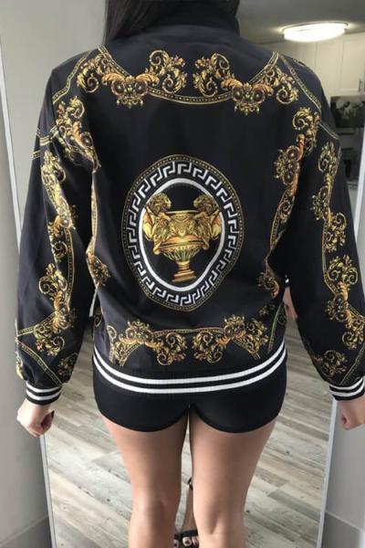 Floral Zipper Baseball Jacket