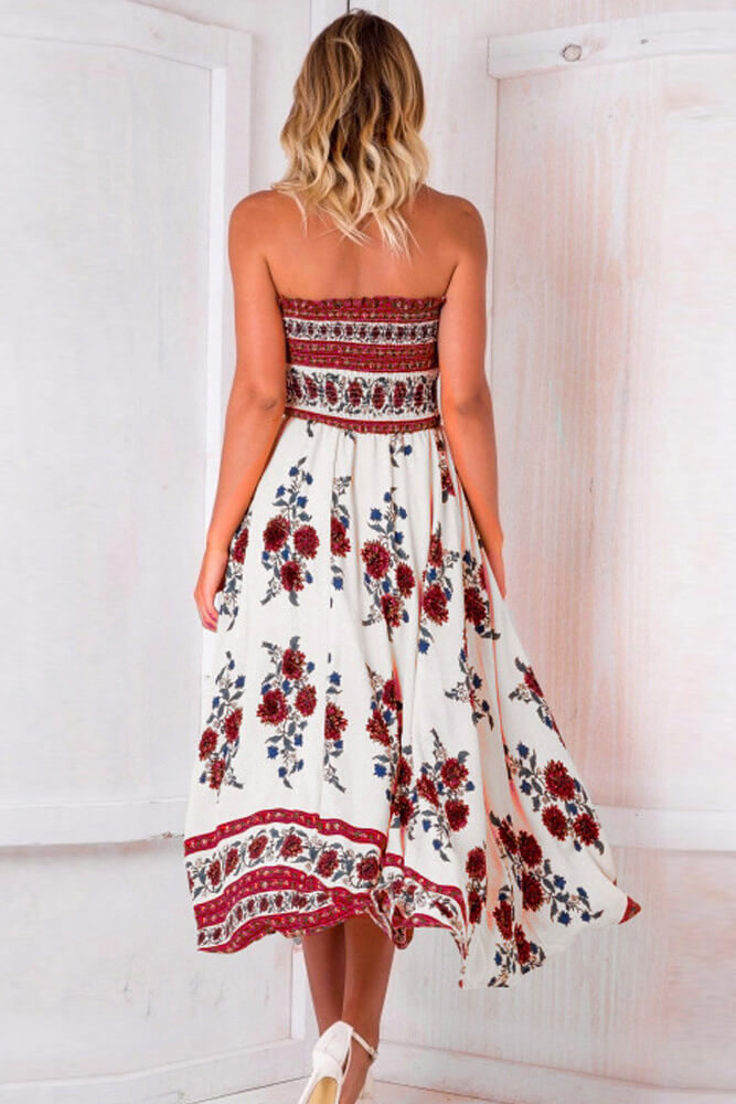Boho Off Shoulder Strapless Summer Beach Floral Slit Maxi Dress