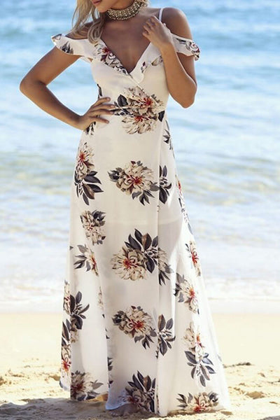 Floral print halter chiffon Casual long Maxi dress