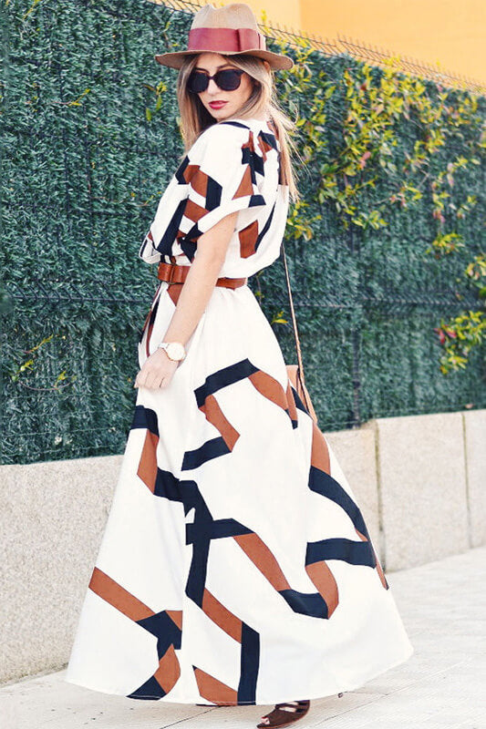 Geometric Print Split Maxi Dress