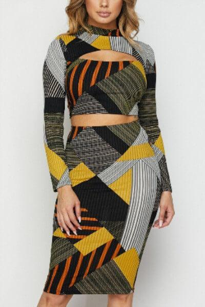 Geometric Color Block Two-Piece Dress