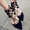 Gladiator Sandals Pointy Toe Bandage Cross Strappy Slim Kitten Heels
