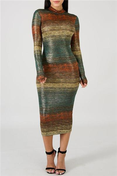 Gradient Color Long Sleeve Dress