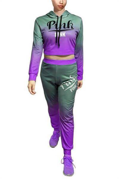 Gradient Two Piece Casual Tracksuit