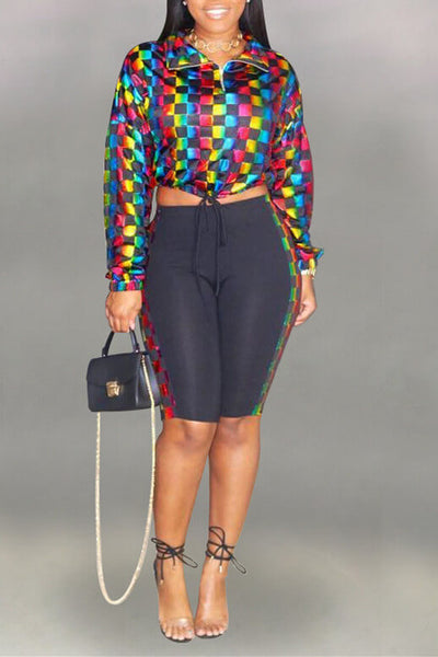 Casual-Grids-Printed-Multicolor-Pants-Set