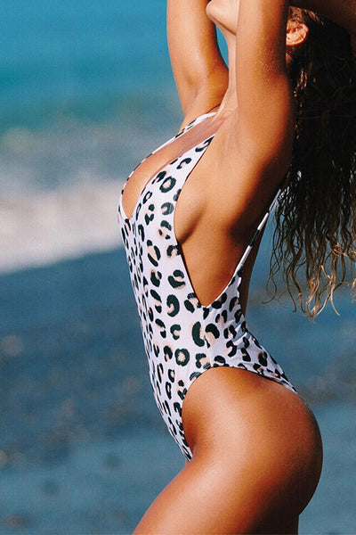 High Cut Leg Backless One Piece Swimsuit