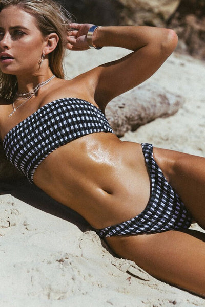 High-Cut-Plaid-Bandeau-Bikini-Set