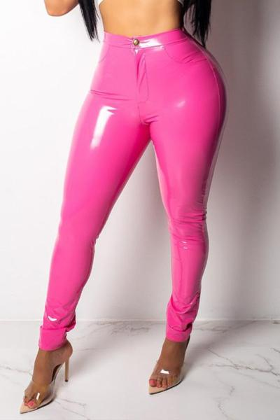 High Elastic Thick Leather Pants