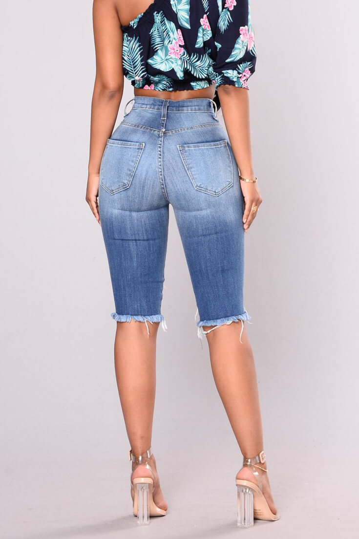 High Waist Hole Tassel Jeans
