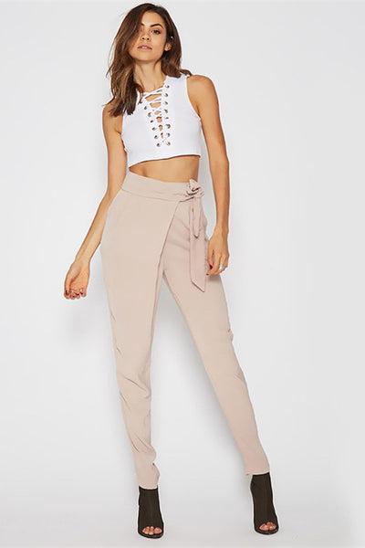 High Waist Lace Up Slim Fit Pants