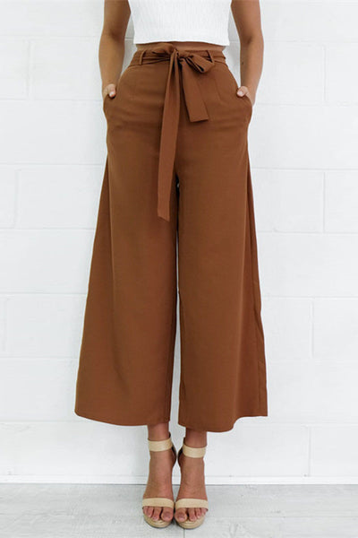 High Waist Lace Up Wide Leg Pants