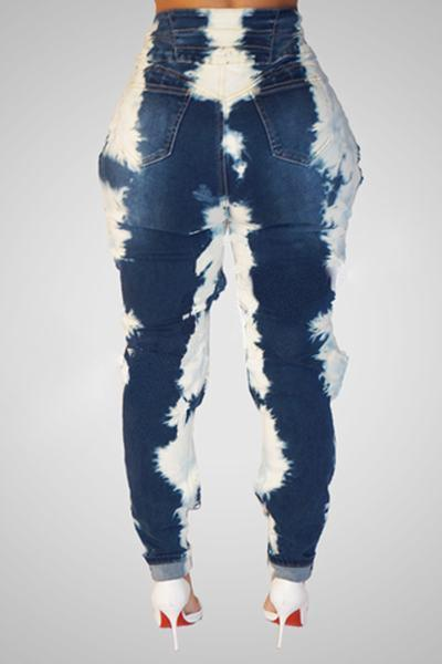 High Waist Ripped Slim Fit Jeans