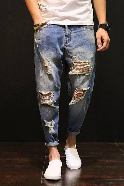 Tapered Hip-hop Ripped Jeans