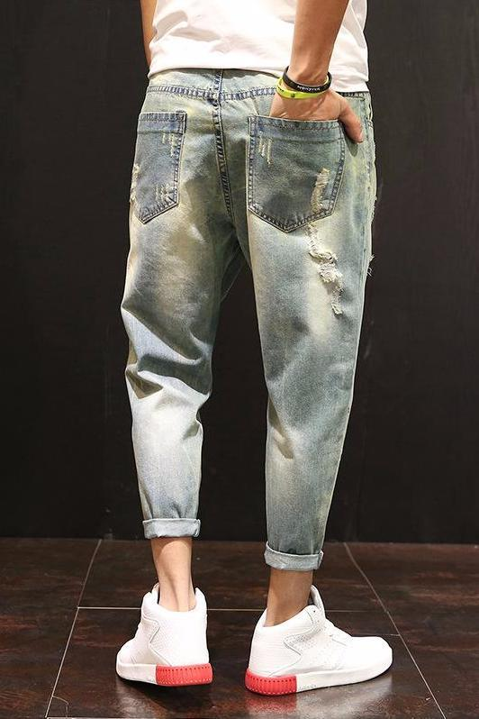Washed Hip-hop Ripped Jeans