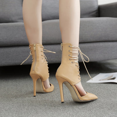 Hollow pointed strappy high heels