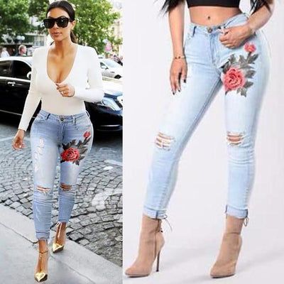 Iconhunt Embroidered Rip Skinny Jeans