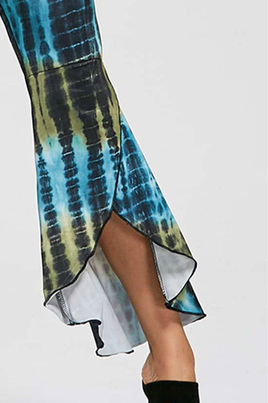 Irregularly Printed Wide Leg Pants