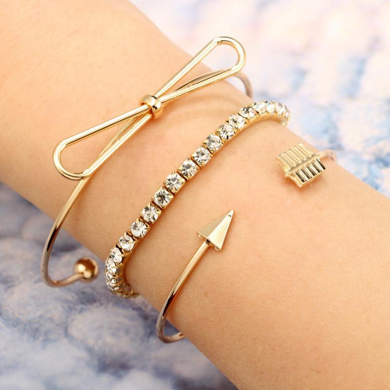 Knot and Arrow Bangle Set