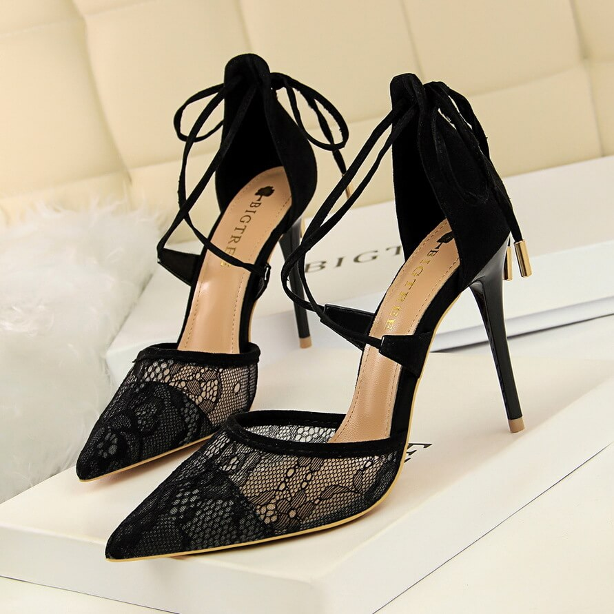 9d787a7c9 Lace Hollow Out Cross Stripe Thin High Heel - ICONHUNT
