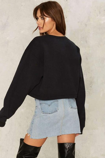 Lace Up Front Cropped Sweat Top
