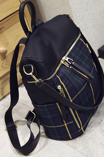 Large-capacity Nylon Plaid Backpack