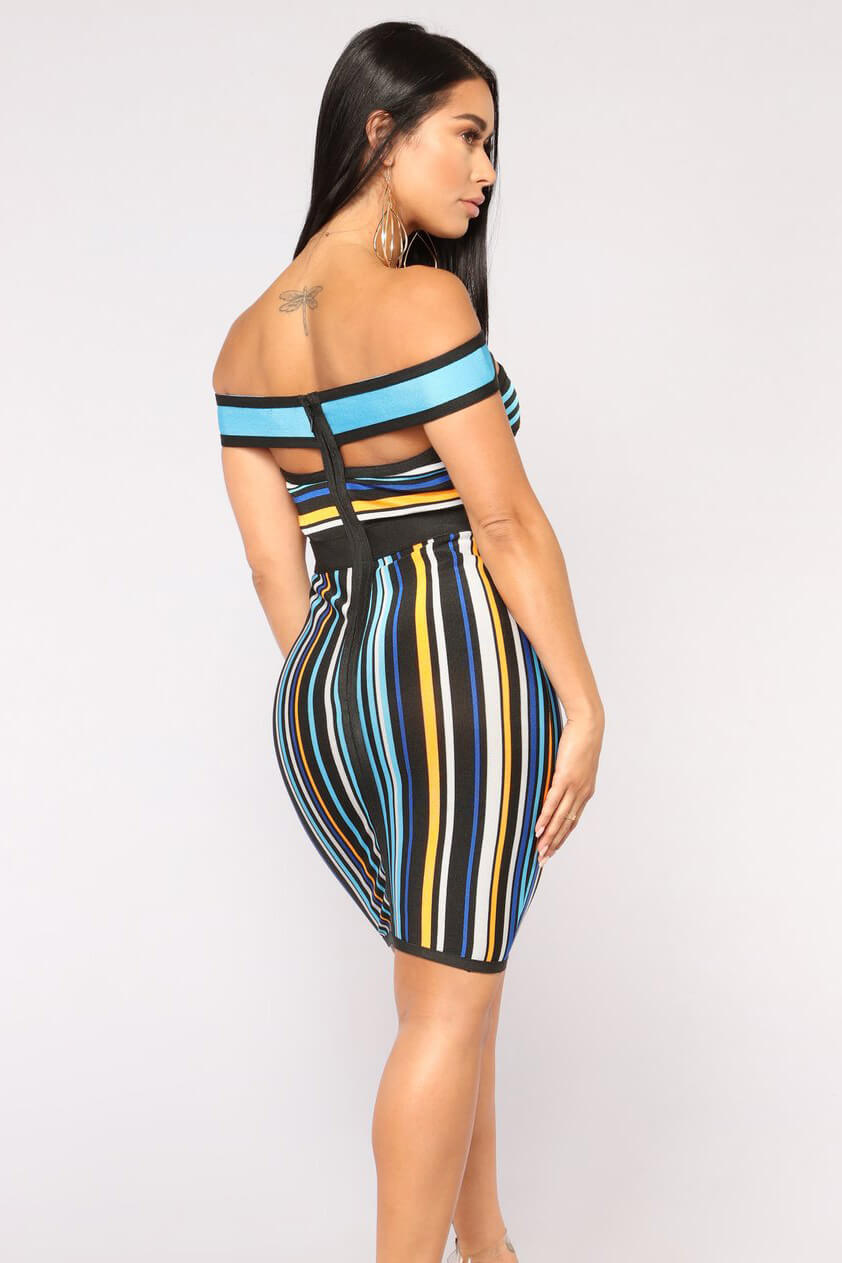 Lively Bandage Sexy Stried Prints Dress