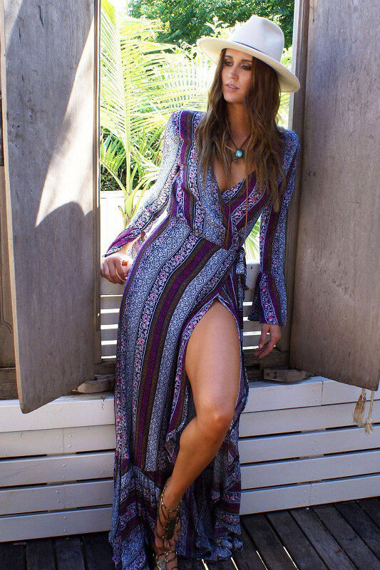 Long Boho Printed Beach Maxi Dress