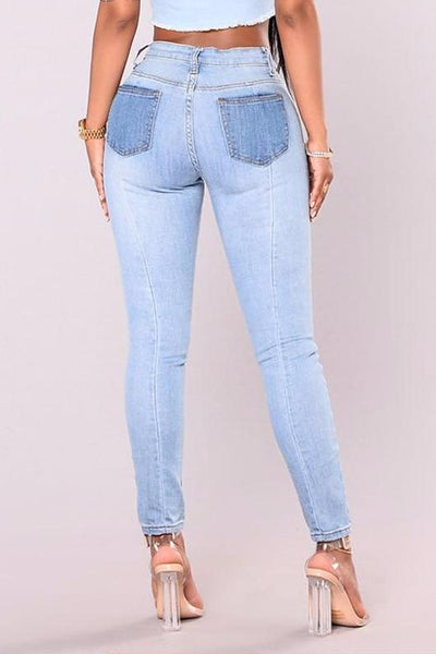 Medium to Low Rise Colorblocked Skinny Jeans