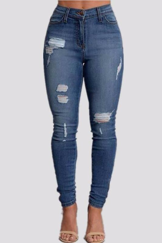 Iconhunt Mid Rise Ripped Skinny Jeans