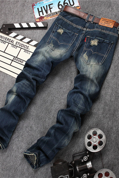 Mid Waist Straight Distressed Ripped Jeans