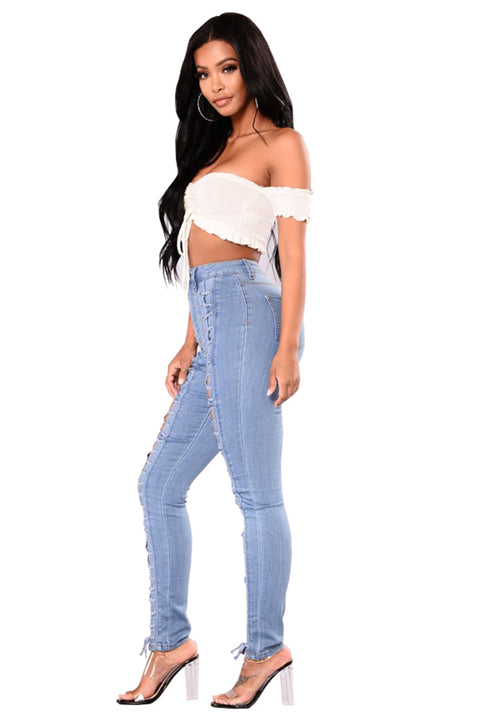 Mid Waist Strappy Slim Fit Jeans-Blue