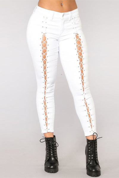 Mid Waist Strappy Slim Fit Jeans-White