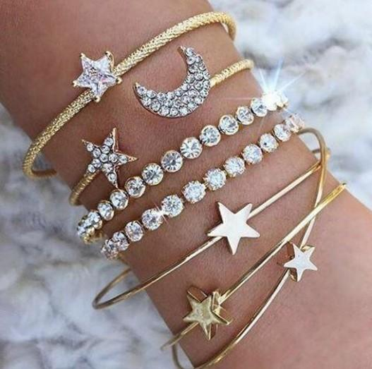 Moon and Stars Bangle Set