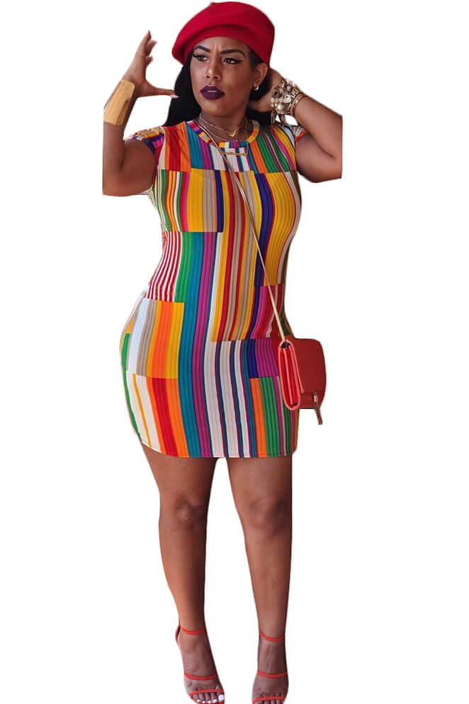 Multi-Color Stripe Short Sleeve Dress