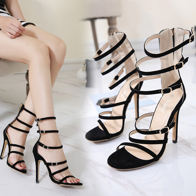 621b3bbeab8 Multi buckle high heel sexy hollow Roman sandals - ICONHUNT