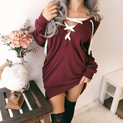 Off Shoulder Lace Up Sweatshirt Dress
