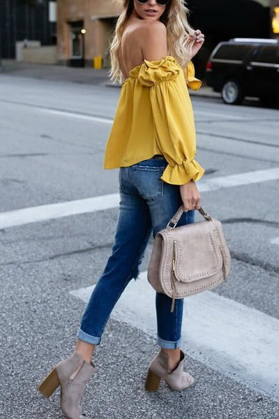 ca8770738cee83 Off The Shoulder Ruffle Blouse - ICONHUNT