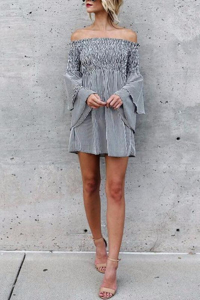 Off The Shoulder Tiered Sleeve Dress
