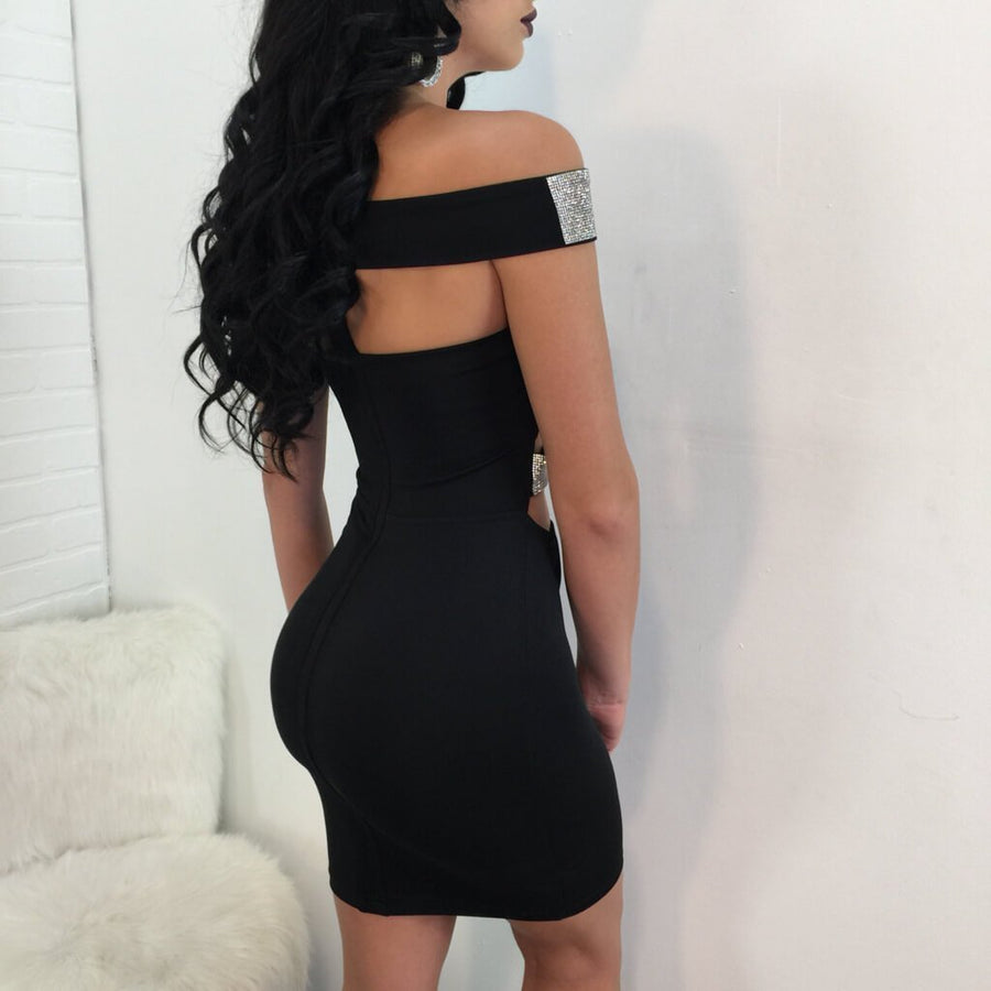 Off The Shoulder Hollow Bodycon Dress