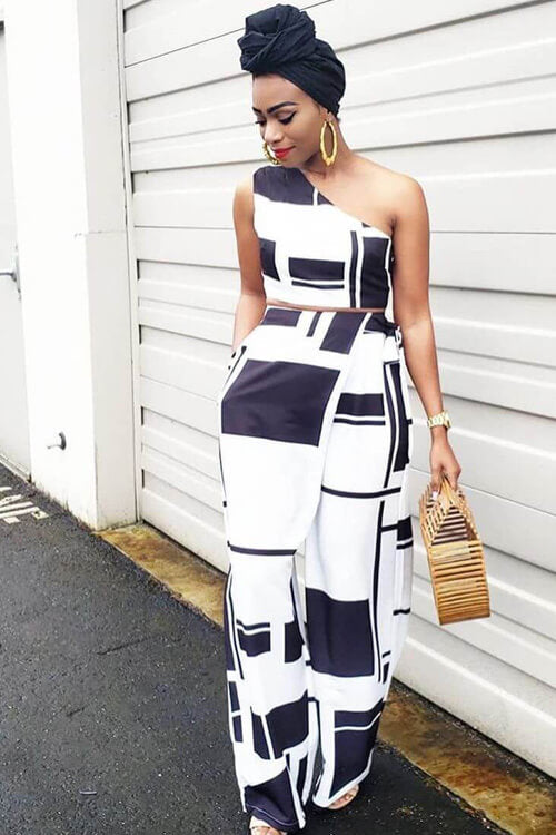 One Shoulder Crop Top Wide Leg Two-piece Pants Set