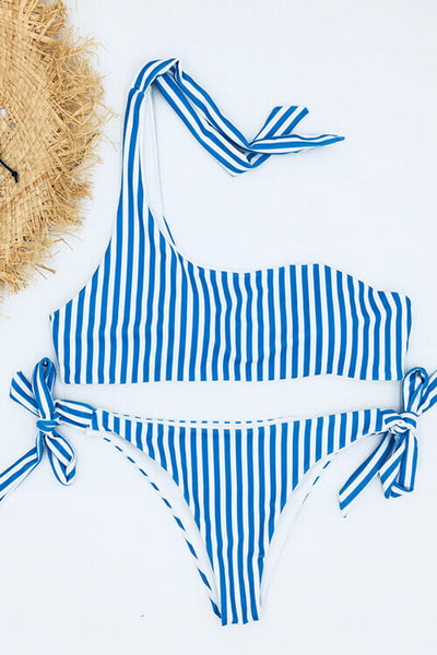One Shoulder Stripe Bikini Set