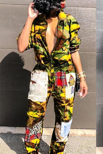 Patchwork Camouflage Printed Jumpsuit