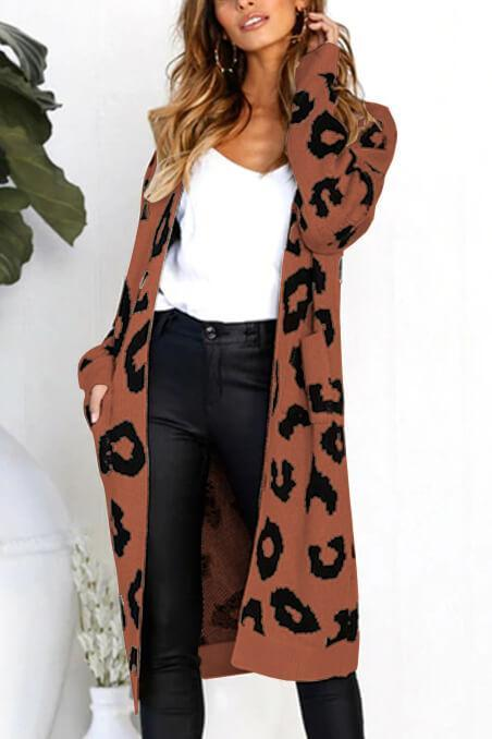 Print Long Sleeve Knit Cardigan with Pocket