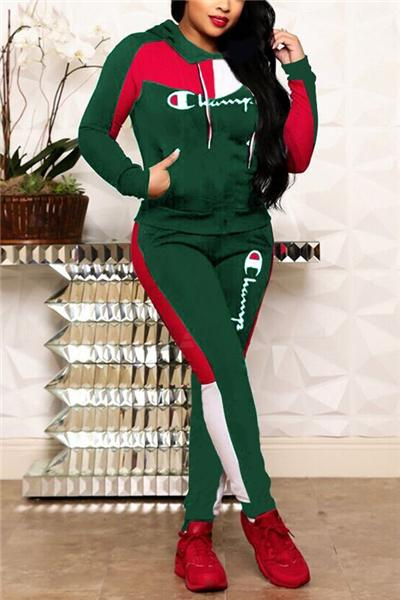 Fashion Stitching Letter Embroidery Hooded Suit