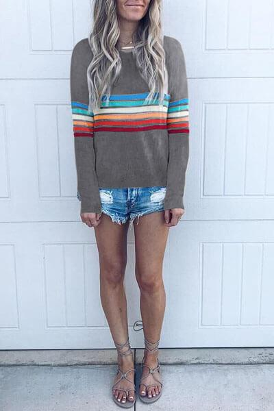Rainbow Striped Crew Neck T-shirt