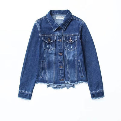 Raw Hem Classic Denim Jacket