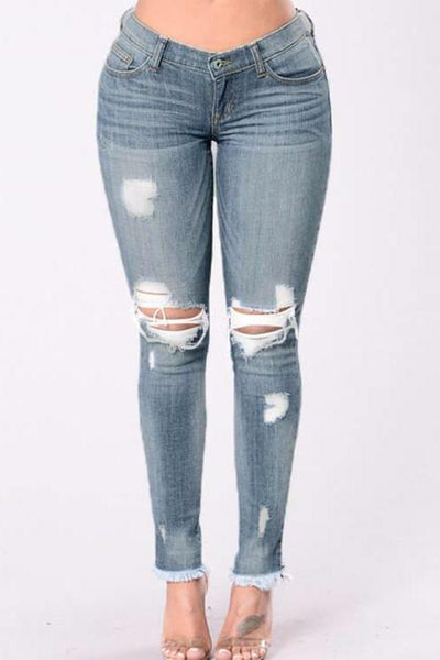Raw Hem Distress Skinny Jeans
