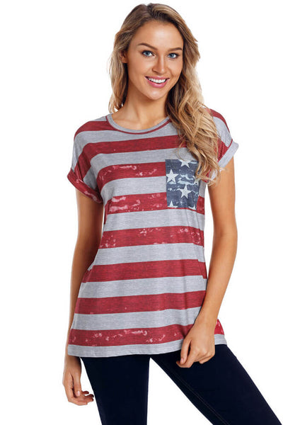 Red Stripe Star Print Pocket Casual T Shirt