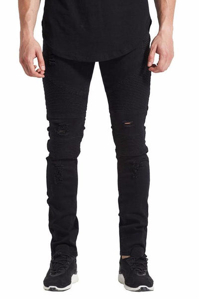 Ribbed Distressed Jeans - BLACK